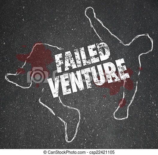 Failed Venture Chalk Outline Startup Business Dead Body Killed - csp22421105