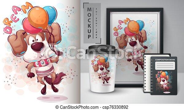 faire commerce, mouche, chien, affiche - csp76330892