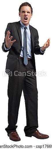 faire gestes, homme affaires accentué - csp17669500