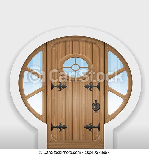 Fairy arched door - csp40573997 & Fairy arched door. Fairy arched wooden door with round... eps ...