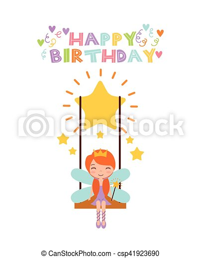 Fairy birthday card happy birthday card with cute fairy eps fairy birthday card csp41923690 bookmarktalkfo Image collections