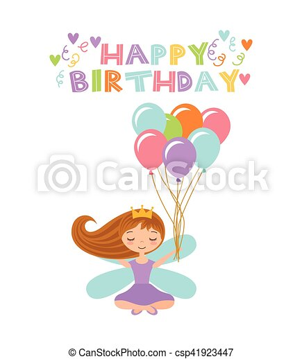 Fairy birthday card happy birthday card with cute fairy eps fairy birthday card vector bookmarktalkfo Image collections