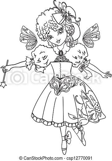 fairy cartoon outline drawing vector - Cartoon Outline Drawings
