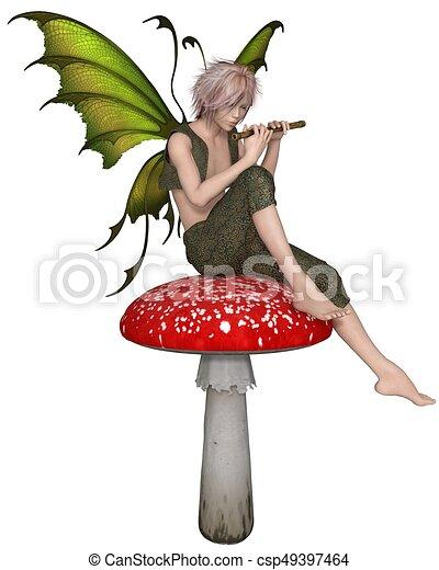 fairy flute boy sitting on a toadstool fantasy clip art sleeping bag clip art sleeping dachshund