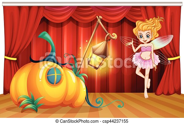 Fairy flying around pumpkin house on stage - csp44237155