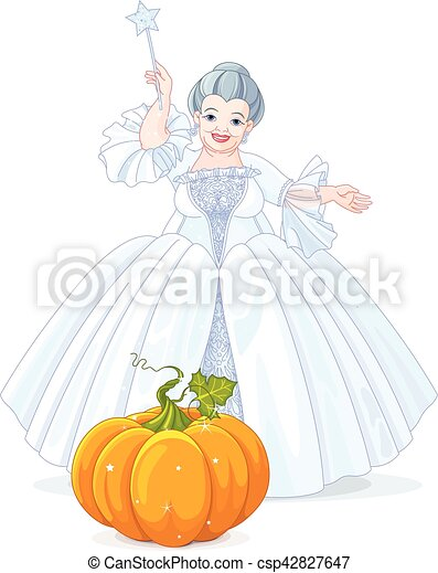 Fairy Godmother Making Magic Pumpkin Carriage - csp42827647