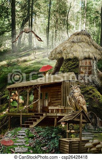 fairy house stump csp26428418