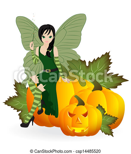Fairy on a pumpkin - csp14485520