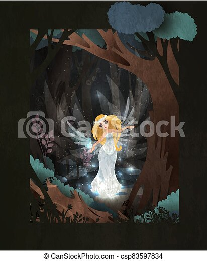 Fairy tale book cover illustration swan princess in front of dark magic forest/ - csp83597834