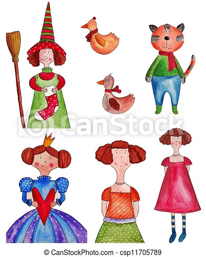 fairy tale characters artwork watercolors on paper stock rh canstockphoto com Fable Fairy Tale Clip Art Vintage Fairy Tale Clip Art