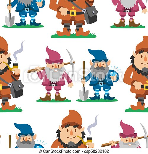Fairy tale fantastic gnome seamless pattern background dwarf elf character poses magical leprechaun cute fairy tale man vector illustration - csp58232182