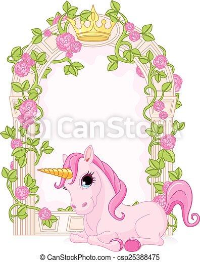 Fairy tale frame with unicorn - csp25388475