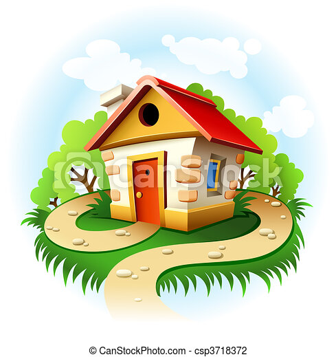 Fairy Tale House Among Trees With Walk Path Vector