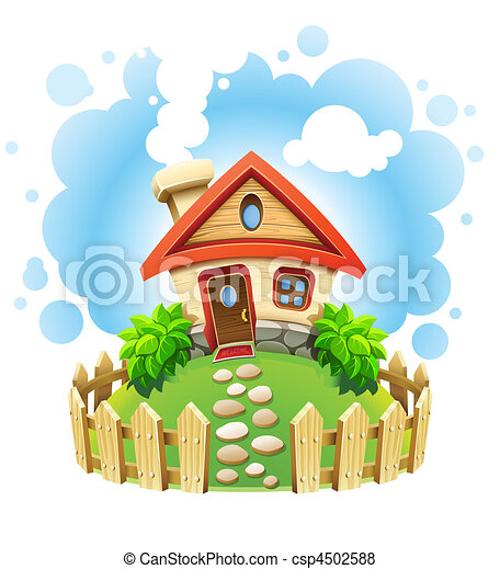 fairy-tale house on lawn with fence - csp4502588