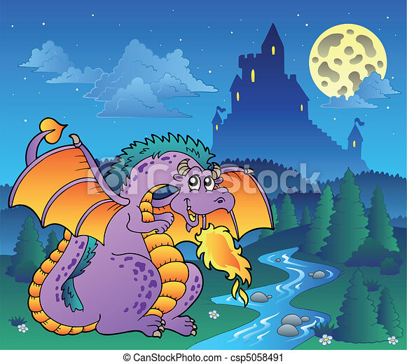 Fairy tale image with dragon 3 - csp5058491