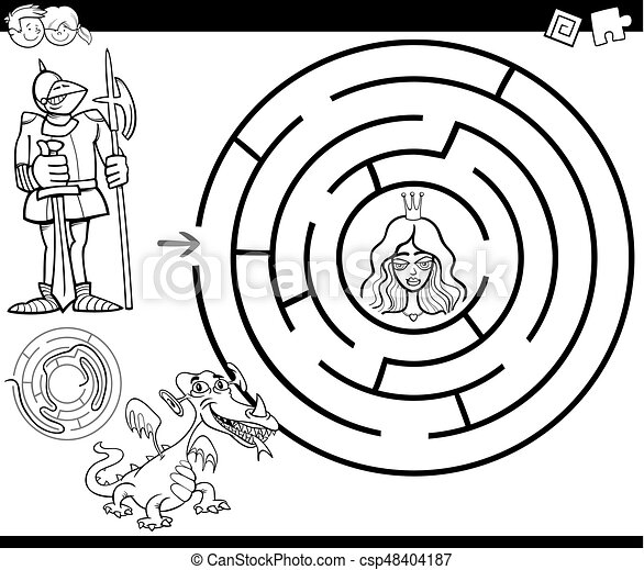 fairy tale maze coloring page - csp48404187