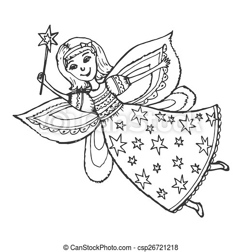 Hand Drawn Cartoon Sketch Illustration Of Fairy With A Magic Wand