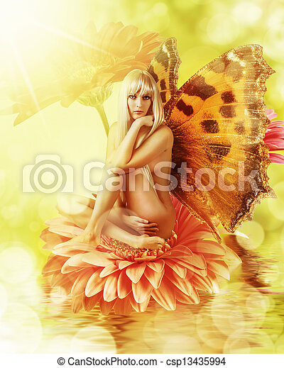 fairy with wings on a flower - csp13435994