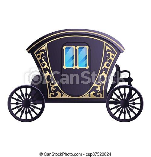 Fairytale carriage icon, cartoon style - csp87520824