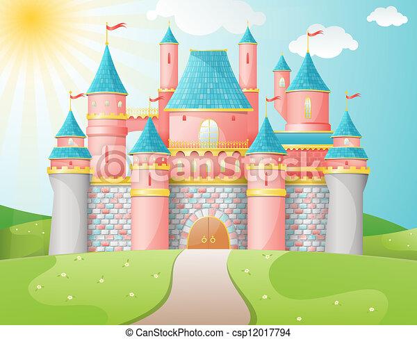 fairytale, castello, illustration. - csp12017794