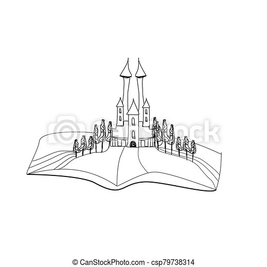 - Fairytale Castle Coloring Book - Isolated Doodle Drawing.