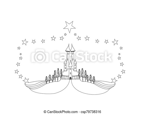 - Fairytale Castle Coloring Book - Isolated Doodle Illustration.