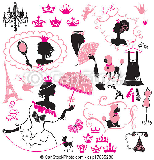 Fairytale Set - silhouettes of princess women with accessories, crowns and pets - csp17655286