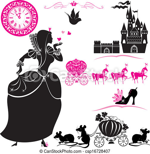 Fairytale Set - silhouettes of Cinderella, Pumpkin carriage with mouses, castle and clock. - csp16728407