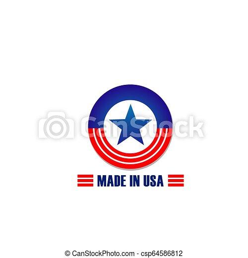 fait, étoile, usa, raies, drapeau, vecteur, icône - csp64586812