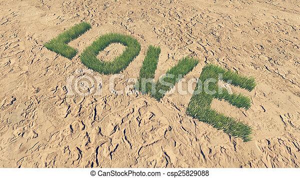 fait, amour, texte, 3, frais, herbe - csp25829088