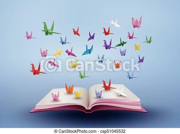 Fait Colore Sur Oiseau Volant Papier Origami Livre Ouvert