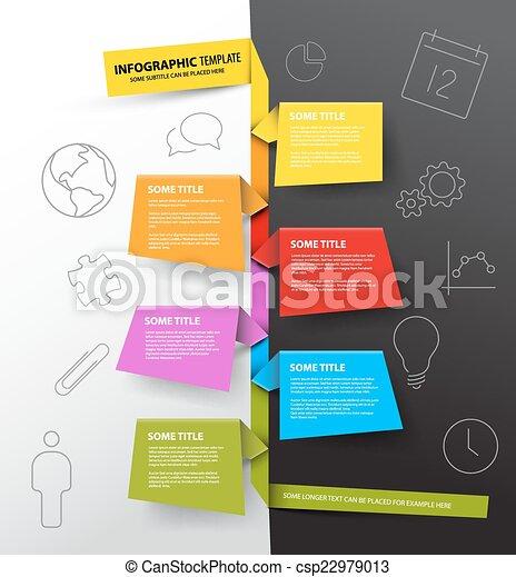 fait, coloré, timeline, infographic, gabarit, papiers, rapport - csp22979013