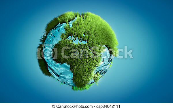 fait, continents, globe, image, eau, croissant, la terre, herbe, grands traits, 3d - csp34042111