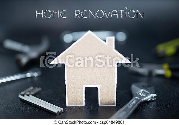 fait, coup, maison, peu profond, champ, profondeur, bricolage, fond, carton, outils - csp64849801
