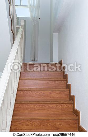 Fait, escalier, bois, laminate, moderne, bois, maison, blanc.