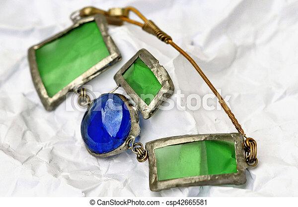 fait, miroirs, fait main, bijoux, verre, fer