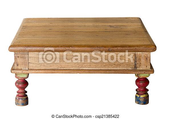 fait, vieux, porté, bois, artisan, table - csp21385422