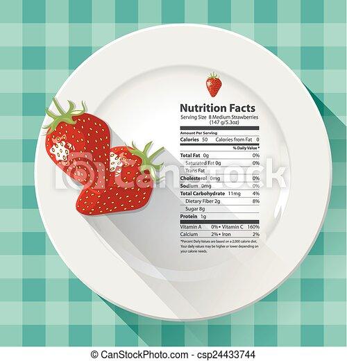 Faits, fraises, nutrition. Faits, fraises, vecteur, nutrition.
