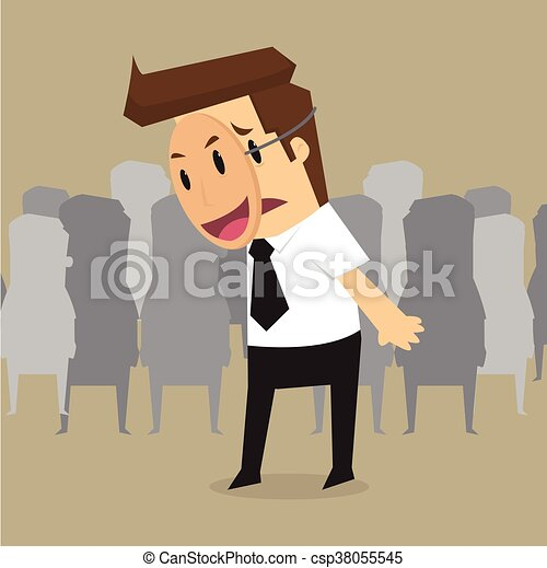 Fake businessman wearing mask smile rage cavaliers. Business concept - csp38055545