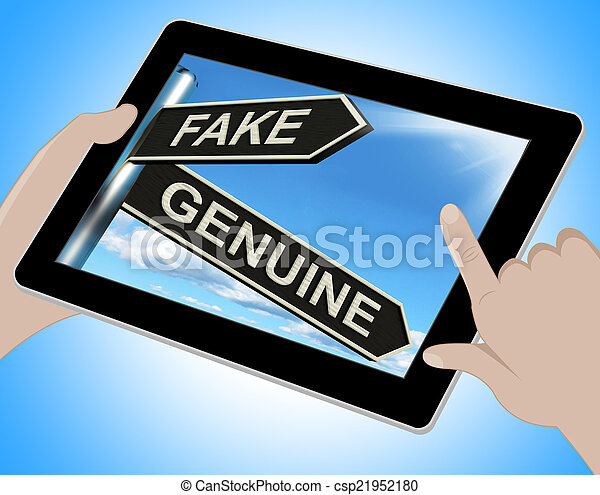 Fake Genuine Tablet Shows Imitation Or Authentic Product - csp21952180