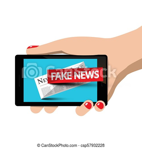 Fake News Symbol on Mobile Phone in Woman Hand - csp57932228