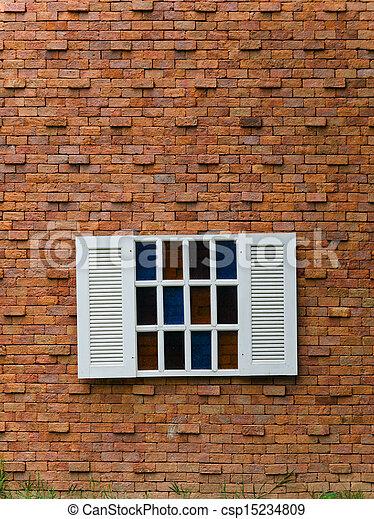 Fake White Window on Brick Wall - csp15234809