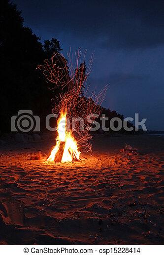falò, spiaggia - csp15228414