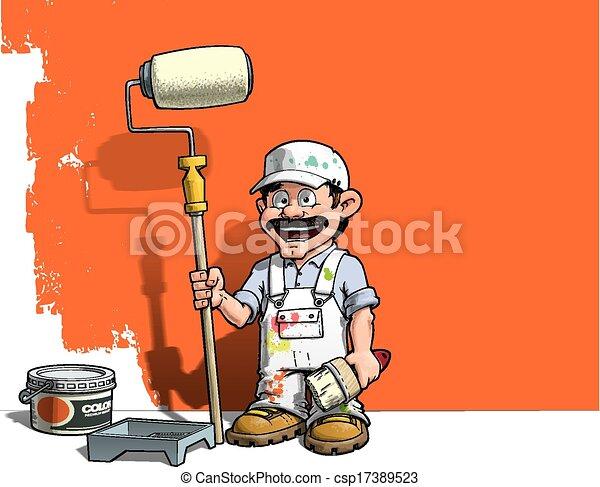 fal, ezermester, -, egyenruha, fehér, szobafestő - csp17389523