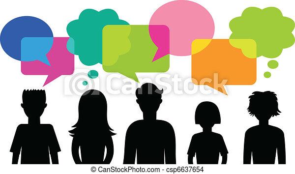 fala, bolhas, silueta, jovens - csp6637654
