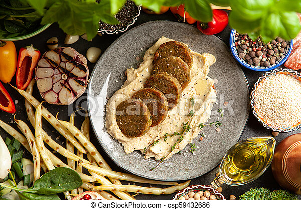 Falafel and hummus - csp59432686