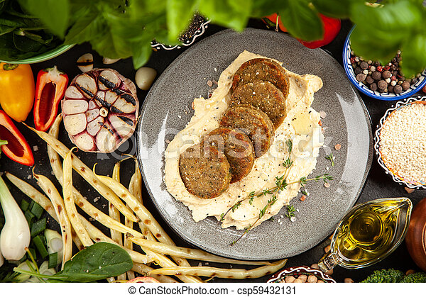 Falafel and hummus - csp59432131
