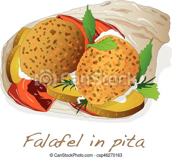 Falafel in pita vector isolated clip art vector - Search ... Falafel Clipart