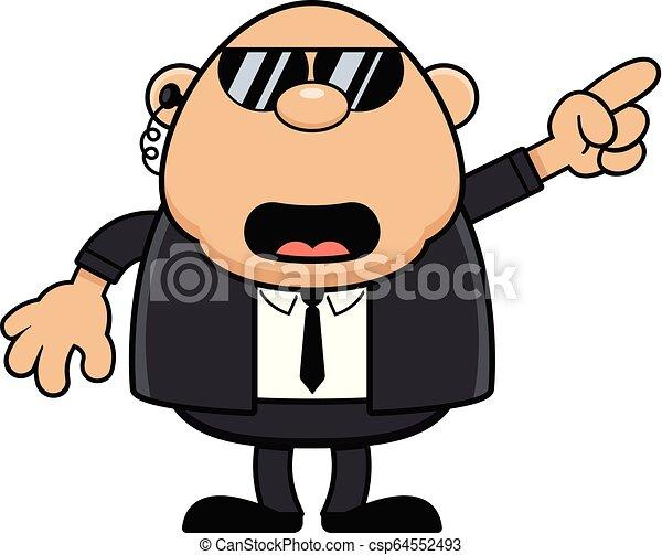falando, guarda-costas, caricatura, apontar - csp64552493