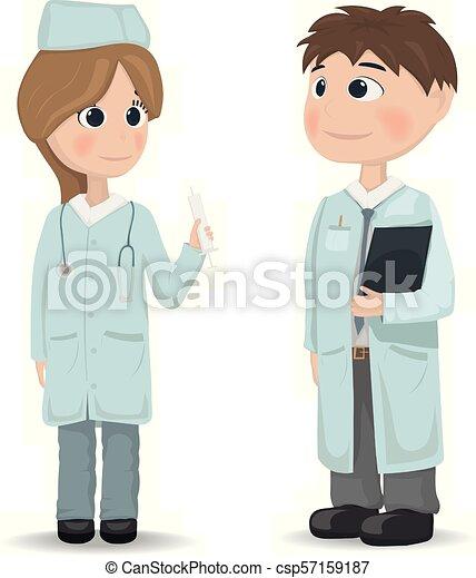 falar mulher, reunião, vector., doutores, discussões, conferência, homem - csp57159187